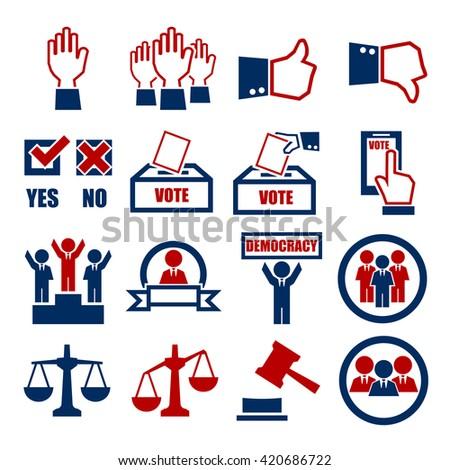 election, vote icon set - stock vector