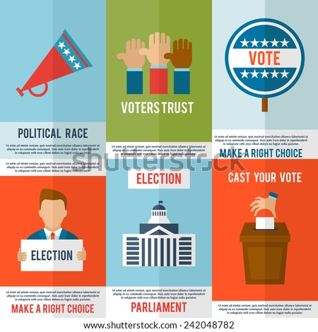 Election voting and debate mini poster set isolated vector illustration - stock vector