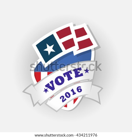 Election Voting Sticker and Badge in USA red, white and blue - stock vector