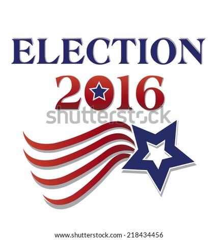 Election 2016 with USA Flag illustration. Vector icon - stock vector