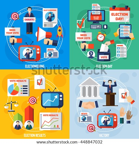 Elections and voting 2x2 design concept set of media discussion vote results and winning candidate flat compositions vector illustration  - stock vector