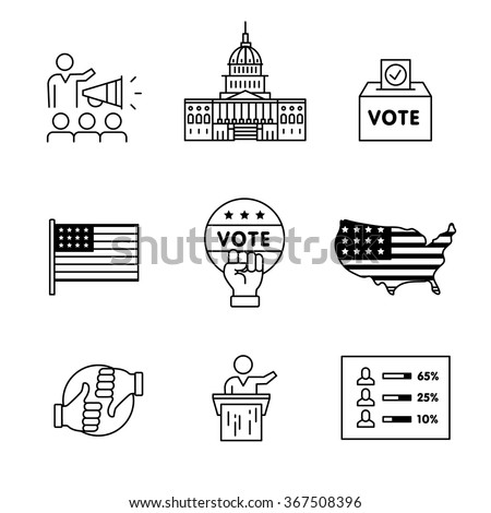 Elections, campaign and voting signs set. Thin line art icons. Linear style illustrations isolated on white. - stock vector