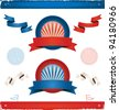 Elections In USA - Ribbons And Banners/ Illustration of a set of american colored vintage ribbons, banners, labels, shields  and seal stamper for elections or fourth of july national holiday - stock vector
