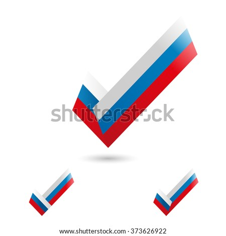 Elections. To vote icon. Vector illustration. The Russian flag.  isolated on white background. ballot box. voting box. vote button. poll icon. - stock vector