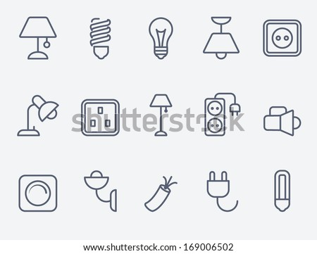 Electric accessories icons - stock vector