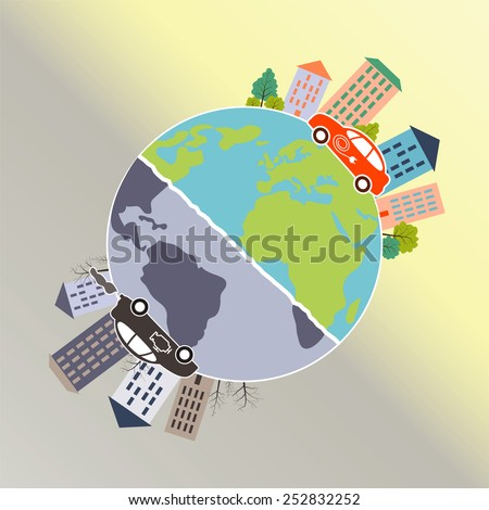 Electric and fuel engine cars riding on the Earth surface. Vector illustration. - stock vector