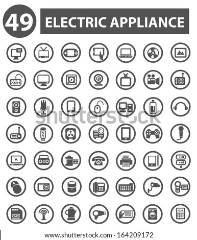 Electric appliance icons,Gray icons,White background version,vector - stock vector
