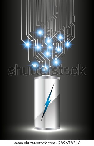 electric battery energy, vector illustration, dark black Light Abstract Technology background for computer graphic website internet. wave. silver. circuit. spark. bolt. thunderbolt. thunder - stock vector