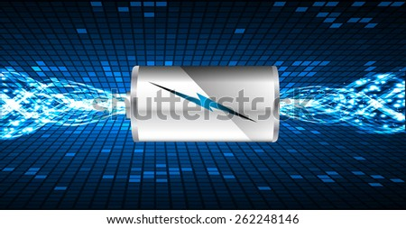 electric battery energy, vector illustration, dark blue Light Abstract Technology background for computer graphic website internet. wave. silver - stock vector
