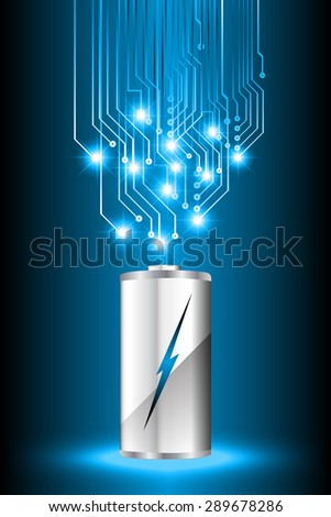 electric battery energy, vector illustration, dark blue Light Abstract Technology background for computer graphic website internet. wave. silver. circuit. spark. bolt. thunderbolt. thunder - stock vector