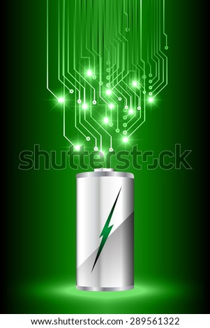 electric battery energy, vector illustration, dark green Light Abstract Technology background for computer graphic website internet. wave. silver. circuit. spark. bolt. thunderbolt. thunder - stock vector