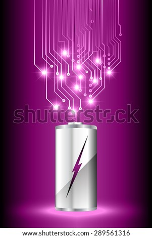 electric battery energy, vector illustration, dark purple Light Abstract Technology background for computer graphic website internet. wave. silver. circuit. spark. bolt. thunderbolt. thunder - stock vector