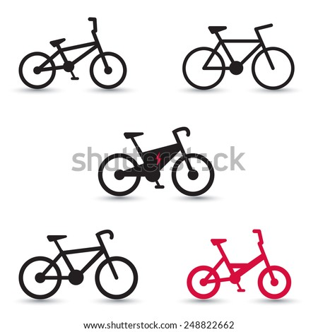 Electric Bike and other bikes icons vector illustration, eps10, easy to edit - stock vector