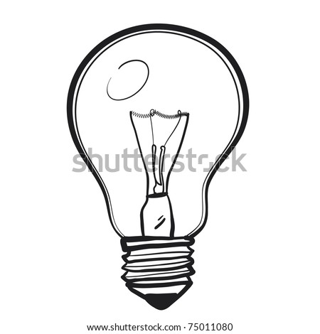 Electric bulb. A children's sketch of a bulb - stock vector