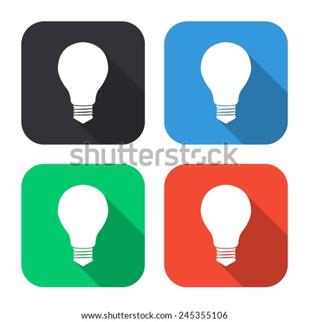 electric bulb icon - colored illustration (gray, blue, green, red) with long shadow - stock vector