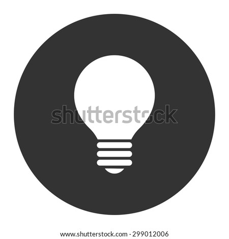 Electric Bulb icon from Primitive Round Buttons OverColor Set. This round flat button is drawn with white and gray colors on a white background. - stock vector