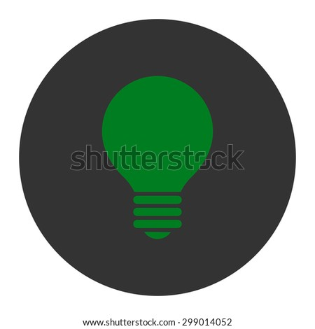 Electric Bulb icon from Primitive Round Buttons OverColor Set. This round flat button is drawn with green and gray colors on a white background. - stock vector