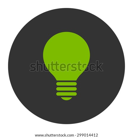 Electric Bulb icon from Primitive Round Buttons OverColor Set. This round flat button is drawn with eco green and gray colors on a white background. - stock vector