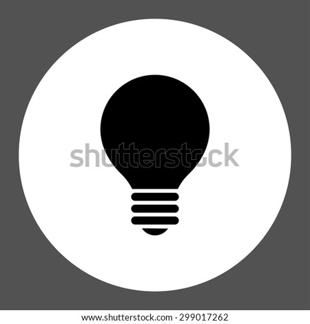 Electric Bulb icon from Primitive Round Buttons OverColor Set. This round flat button is drawn with black and white colors on a gray background. - stock vector