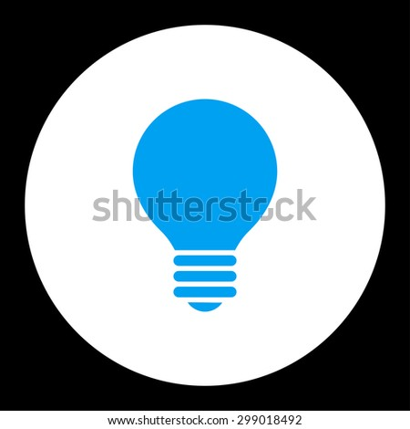 Electric Bulb icon from Primitive Round Buttons OverColor Set. This round flat button is drawn with blue and white colors on a black background. - stock vector
