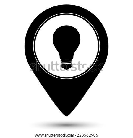 electric bulb icon - vector map pointer - stock vector
