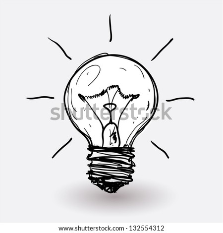 Electric bulb stylized vector draft. - stock vector
