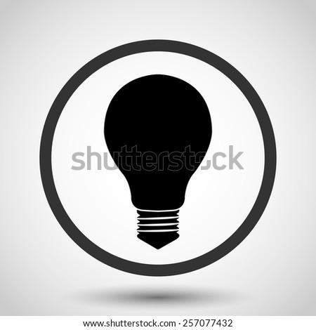 Electric bulb vector icon - black illustration - stock vector