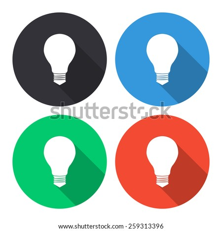 Electric bulb vector icon - colored(gray, blue, green, red) round buttons with long shadow - stock vector