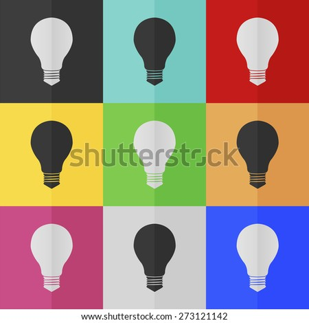 Electric bulb vector icon - colored set. Flat design - stock vector
