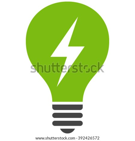 Electric Bulb vector icon. Electric Bulb icon symbol. Electric Bulb icon image. Electric Bulb icon picture. Electric Bulb pictogram. Flat eco green and gray electric bulb icon. - stock vector