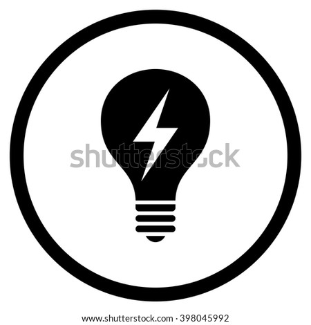 Electric Bulb vector icon. Picture style is flat electric bulb rounded icon drawn with black color on a white background. - stock vector