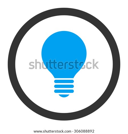 Electric Bulb vector icon. This rounded flat symbol is drawn with blue and gray colors on a white background. - stock vector