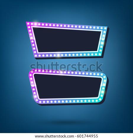 Electric Bulbs Billboard Retro Light Frames Stock Vector 601744955 ...