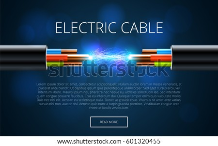 electric cable break copper electrical cable stock vector, Presentation templates