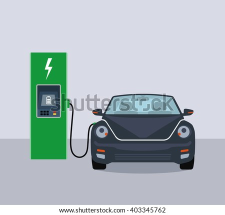 Electric car and electric charging station. Flat vector illustration.  - stock vector