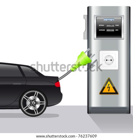 electric car and power station - vector illustration - stock vector