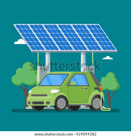 Electric car charging at the charger station in front of the solar panels. Vector illustration in flat style. Eco transport concept background.