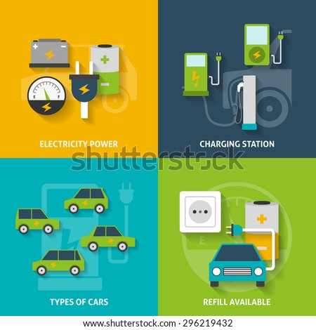 Electric car charging station and electricity power flat color decorative icon set isolated vector illustration - stock vector