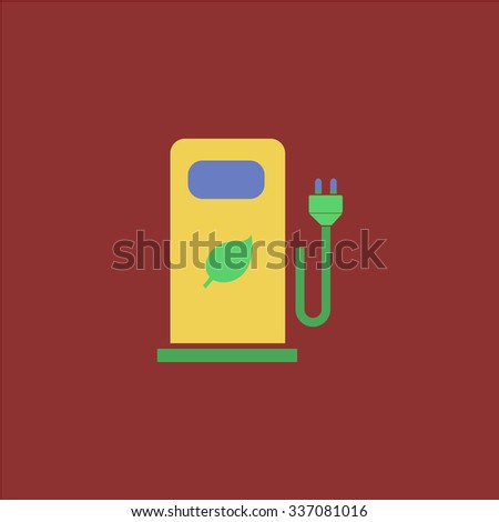 Electric car charging station or Bio fuel petrol. Icon Vector. Icon Picture. Icon Graphic. Icon Art. Icon JPG. Icon JPEG. Icon EPS. Icon AI. Icon FLAT. Icon SIMPLE - stock vector