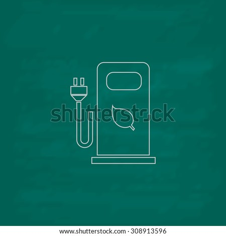 Electric car charging station or Bio fuel petrol. Outline vector icon. Imitation draw with white chalk on green chalkboard. Flat Pictogram and School board background. Illustration symbol - stock vector