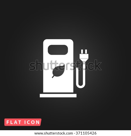 Electric car charging station or Bio fuel petrol. White flat simple vector icon on black background.