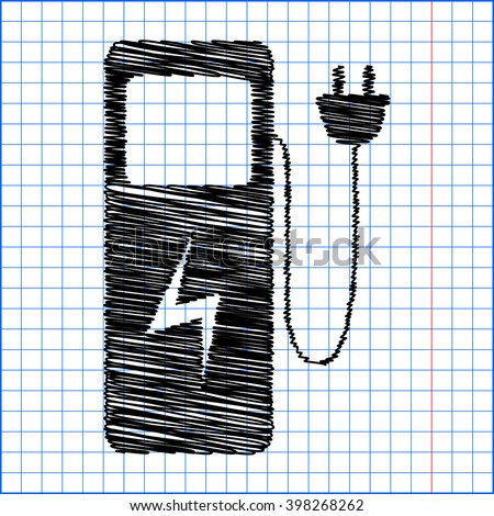 Electric car charging station sign - stock vector
