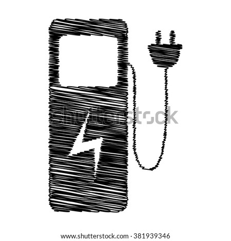 Electric car charging station sign. Icon with scribble effect - stock vector