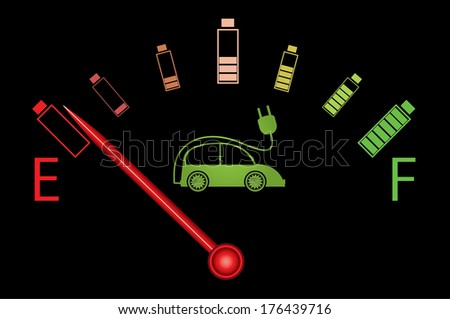 Electric car fuel gauge with batteries, abstract vector design. - stock vector