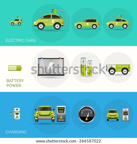 Electric car horizontal banners set with battery charging power elements isolated vector illustration - stock vector