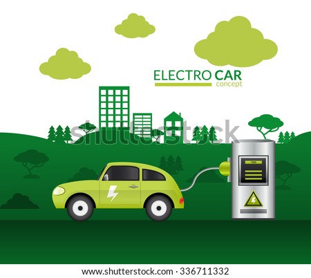 Electric car print with green auto plugged into battery vector illustration - stock vector