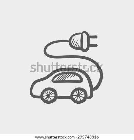 Electric car sketch icon for web and mobile. Hand drawn vector dark grey icon on light grey background. - stock vector