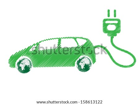 Electric car technology concept isolated on white background - stock vector