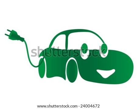 Electric car. vector - stock vector