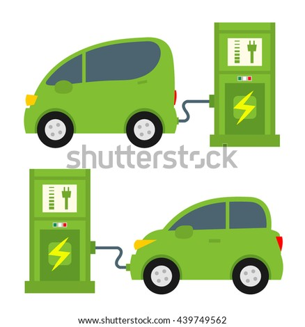Cartoon Electric Car Battery Charging Stock Vector